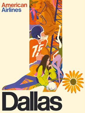 Dallas, Texas - Cowboy Boot with Sunflower Spur - American Airlines by Pacifica Island Art