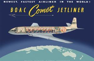 de Havilland Comet Jetliner - BOAC (British Overseas Airways Corporation) by Pacifica Island Art