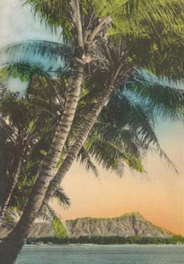 Diamond Head Crater - Sunset View from Waikiki Beach, Hawaii by Pacifica Island Art