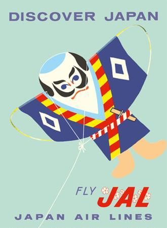 Discover Japan - Fly Japan Air Lines (JAL) - Japanese Samurai Kite by Pacifica Island Art