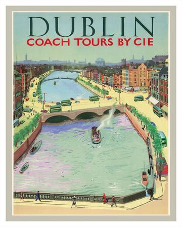 Dublin, Ireland - Coach Tours by CIÉ - O'Connell Bridge over the River Liffey