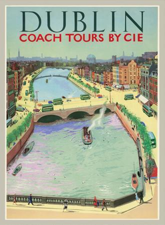 Dublin, Ireland - Coach Tours by CIÉ - O'Connell Bridge over the River Liffey by Pacifica Island Art