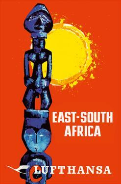 East-South Africa - Lufthansa German Airlines by Pacifica Island Art