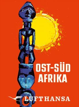 East-South Africa (Ost-Sud Afrika) - Lufthansa German Airlines by Pacifica Island Art