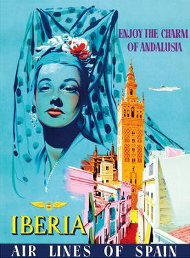 Enjoy the Charm of Andalusia, Spain - Spanish Senorita - Iberia Air Lines of Spain by Pacifica Island Art