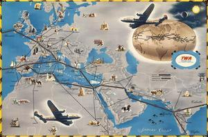 Europe, Africa, Asia Air Routes Map - TWA (Trans World Airlines) by Pacifica Island Art