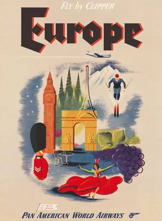 Europe - Fly by Clipper - Pan American World Airways