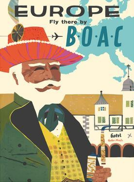 Europe - Fly There by BOAC (British Overseas Airways Corporation) by Pacifica Island Art