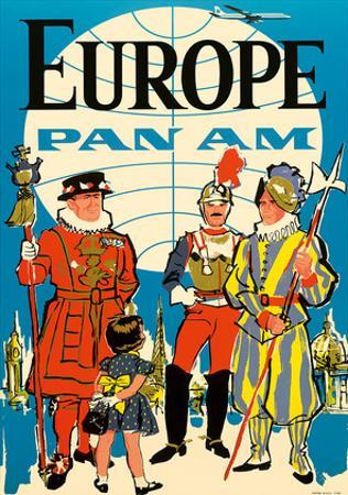 Europe - Pan American Airways (PAA) - British Yeomen of the Guard, Pontifical Swiss Guard by Pacifica Island Art