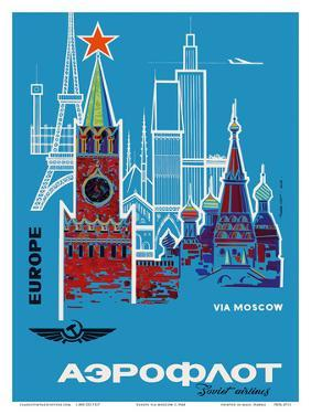 Europe via Moscow - Aeroflot (Soviet Airlines) - National Airline of Russia by Pacifica Island Art