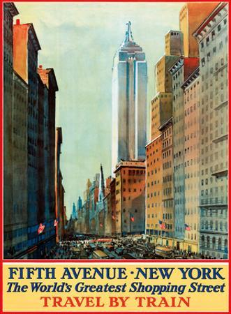 Fifth Avenue, New York, USA - The World's Greatest Shopping Street - Travel by Train by Pacifica Island Art