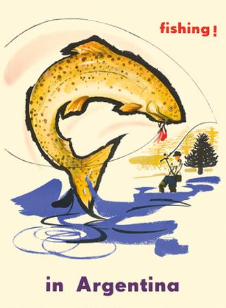 Fishing in Argentina - Fly Fisherman by Pacifica Island Art