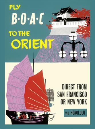 Fly BOAC to the Orient - Direct from San Francisco or New York via Honolulu by Pacifica Island Art