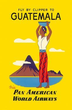 Fly by Clipper to Guatemala - Native Indian Woman, Pacaya Volcano - via Pan American World Airways by Pacifica Island Art