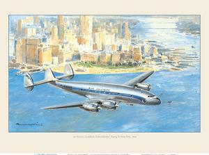 """Flying to New York - Lockheed """"Constellation"""" Plane - France by Pacifica Island Art"""