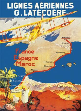 France - Spain - Morocco - Lignes Aeriennes (Aéropostale) by Pacifica Island Art