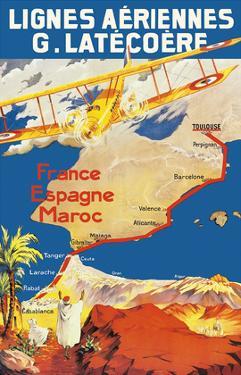 France - Spain - Morocco - Lignes Aeriennes (Aéropostale) by Pacifica Island Art