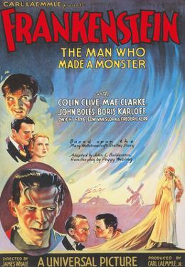 Frankenstein - Starring Boris Karloff and Mae Clarke by Pacifica Island Art