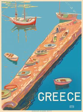 Greece - Aegean Island Jetty by Pacifica Island Art