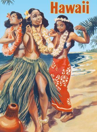 Hawaii - Hawaiian Hula Dancers by Pacifica Island Art