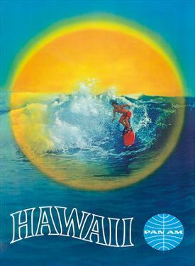 Hawaii - Hawaiian Surfer - Pan American World Airways by Pacifica Island Art