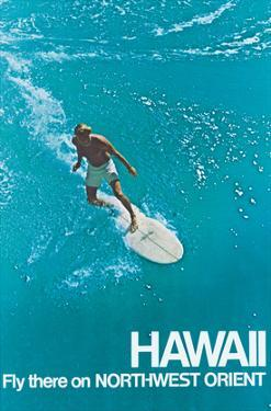 Hawaii - Surfer - Fly there on Northwest Orient Airlines by Pacifica Island Art