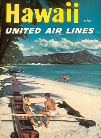 Hawaii - United Air Lines - Couple on Hawaiian Outrigger Canoe (Wa'a) by Pacifica Island Art