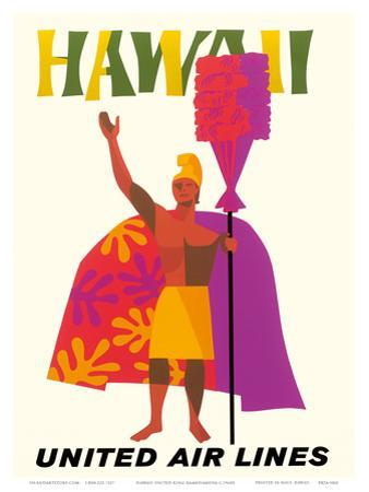 Hawaii - United Air Lines - Hawaiian Chief (Ali?i) with a Royal Feathered Standard (Kahili) by Pacifica Island Art