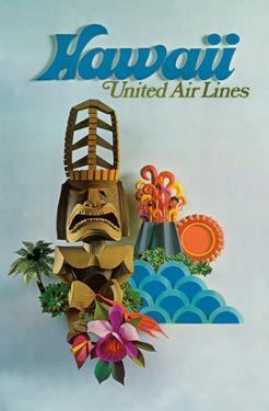 Hawaii - United Air Lines - Tiki by Pacifica Island Art