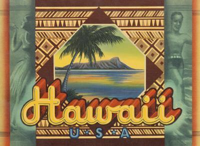 Hawaii, USA - Hawaiian Hula Dancer, Surfer by Pacifica Island Art