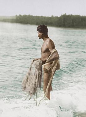 Hawaiian Fisherman (Lawai'a) with Throw Net by Pacifica Island Art