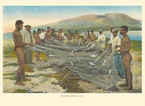Hawaiian Fishermen - Hukilau Shore Fishing - From Fishes of Hawaii by Pacifica Island Art