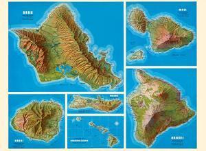 Hawaiian Islands - Oahu, Kauai, Maui, Molokai, Hawaii - Shell Oil Company by Pacifica Island Art
