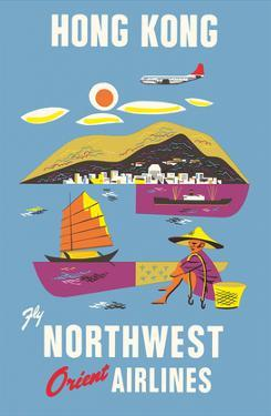 Hong Kong - Fragrant Harbour - Northwest Orient Airlines by Pacifica Island Art