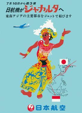 Indonesia - 3 Weekly Flights - JAL (Japan Air Lines) by Pacifica Island Art
