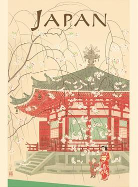 Japan - Shrine and Cherry Blossoms by Pacifica Island Art