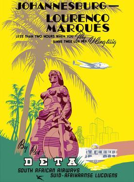 Johannesburg to Lourenço Marques (Maputo) Mozambique - South African Airways by Pacifica Island Art