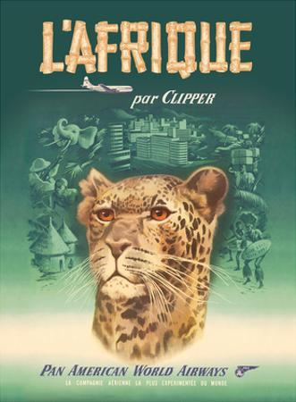 L'Afrique par Clipper (Africa by Clipper) - Pan American World Airways - African Cheetah by Pacifica Island Art