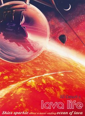 Lava Life - 55 Cancri e - Skies Sparkle Above a Never Ending Ocean of Lava by Pacifica Island Art