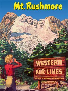 Mt. Rushmore National Memorial - Black Hills, South Dakota USA - Western Air Lines by Pacifica Island Art