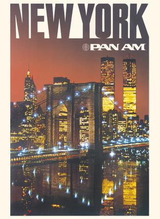 New York - Pan American World Airways - Brooklyn Bridge, Twin Towers by Pacifica Island Art