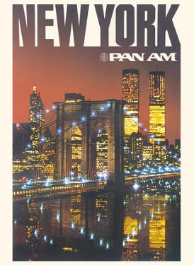 New York - Pan American World Airways - Brooklyn Bridge, Twin Towers by Pacifica Island Art