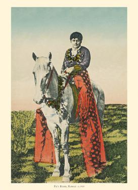 Pa'u Rider - Honolulu, Hawaii - Woman (Wahine) on Horseback by Pacifica Island Art
