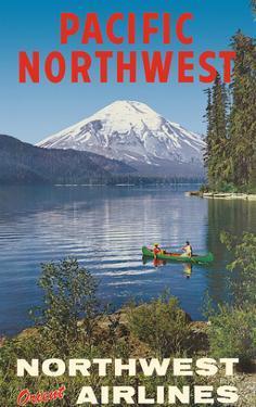 Pacific Northwest - Spirit Lake, Mount St. Helen - Northwest Orient Airlines by Pacifica Island Art