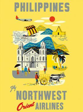 Philippines - Fly Northwest Orient Airlines by Pacifica Island Art