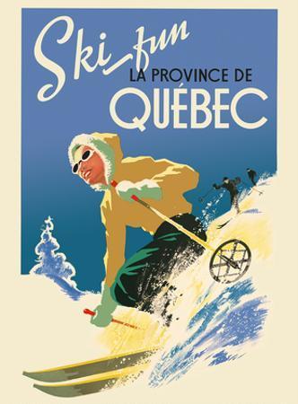 Quebec, Canada - Ski Fun in the Provence of Quebec (La Province de Québec) by Pacifica Island Art