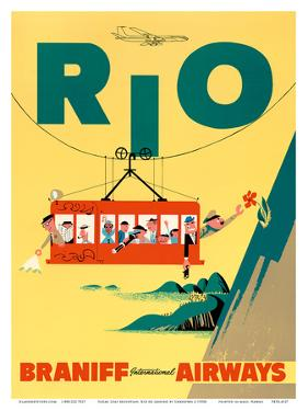 Rio de Janeiro, Brazil - Cable Car to Sugar Loaf Mountain - Braniff International Airways by Pacifica Island Art