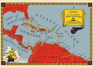 Routes of the Famous Flying Clipper Ships - Caribbean Area by Pacifica Island Art