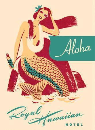 Royal Hawaiian Hotel - Mermaid with Sun Tan Oil by Pacifica Island Art