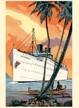 S.S. City of Honolulu - Boat Day Hawaii - Los Angeles Steamship Company by Pacifica Island Art